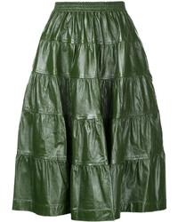 Темно-зеленая кожаная юбка-миди со складками