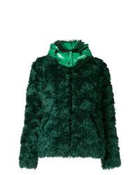 Темно-зеленая короткая шуба
