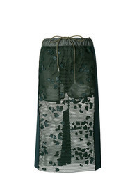 Темно-зеленая кружевная юбка-миди