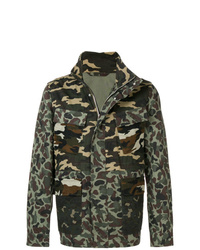 Мужская темно-зеленая куртка в стиле милитари с камуфляжным принтом от PS Paul Smith