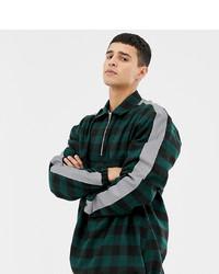 Мужская темно-зеленая куртка-рубашка в клетку от Collusion
