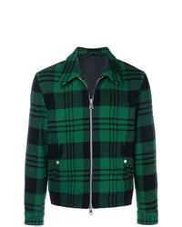Темно-зеленая куртка-рубашка в шотландскую клетку