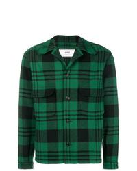 Мужская темно-зеленая куртка-рубашка в шотландскую клетку от AMI Alexandre Mattiussi