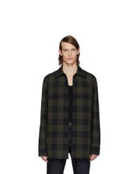 Мужская темно-зеленая куртка-рубашка в шотландскую клетку от Bottega Veneta