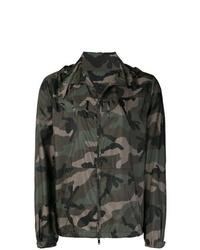 Мужская темно-зеленая куртка-рубашка с камуфляжным принтом от Valentino