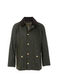 Темно-зеленая куртка с воротником и на пуговицах от Barbour