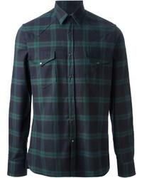 Темно-зеленая рубашка с длинным рукавом в шотландскую клетку