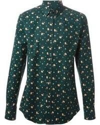 Темно-зеленая рубашка с длинным рукавом с цветочным принтом