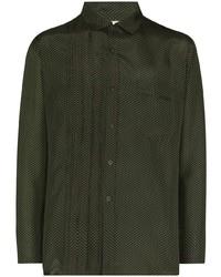 Мужская темно-зеленая рубашка с длинным рукавом от By Walid