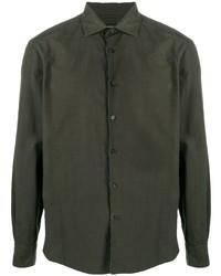 Мужская темно-зеленая рубашка с длинным рукавом от Ermenegildo Zegna