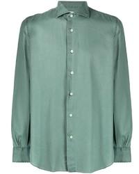 Мужская темно-зеленая рубашка с длинным рукавом от Mazzarelli