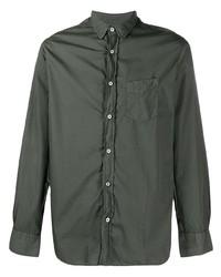 Мужская темно-зеленая рубашка с длинным рукавом от Officine Generale