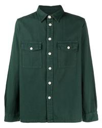 Мужская темно-зеленая рубашка с длинным рукавом от PS Paul Smith