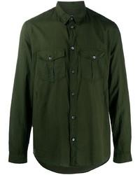 Мужская темно-зеленая рубашка с длинным рукавом от Zadig & Voltaire
