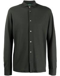 Мужская темно-зеленая рубашка с длинным рукавом от Zanone