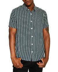 Темно-зеленая рубашка с коротким рукавом в вертикальную полоску