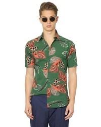 Темно-зеленая рубашка с коротким рукавом с принтом
