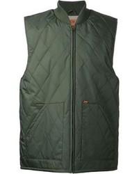 Темно-зеленая стеганая куртка без рукавов