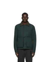 Темно-зеленая стеганая куртка с воротником и на пуговицах от Craig Green
