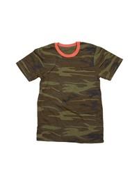 Темно-зеленая футболка с круглым вырезом с камуфляжным принтом