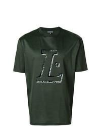 Темно-зеленая футболка с круглым вырезом с принтом