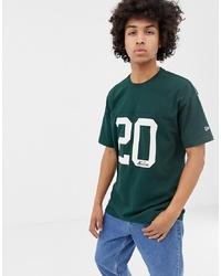 Мужская темно-зеленая футболка с круглым вырезом с принтом от New Era