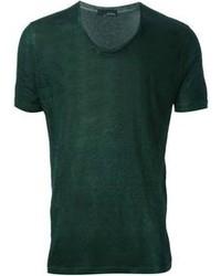 Темно-зеленая футболка с круглым вырезом