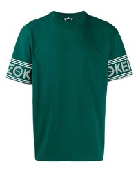 Мужская темно-зеленая футболка с круглым вырезом от Kenzo