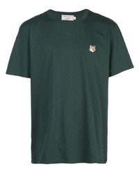 Мужская темно-зеленая футболка с круглым вырезом от MAISON KITSUNÉ
