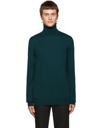 Мужская темно-зеленая шерстяная водолазка от Balmain