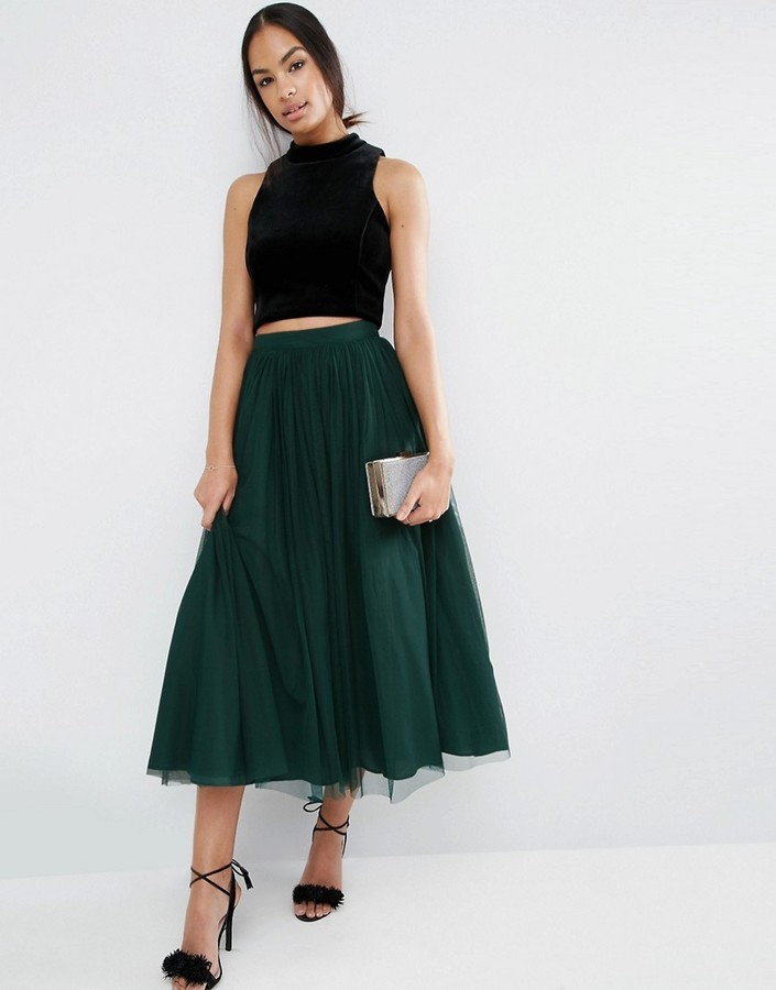 Темно зеленая юбка купить