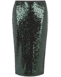 Темно-зеленая юбка-карандаш с пайетками