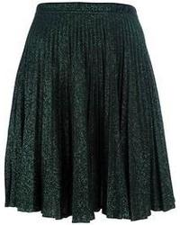 Темно-зеленая юбка-миди со складками