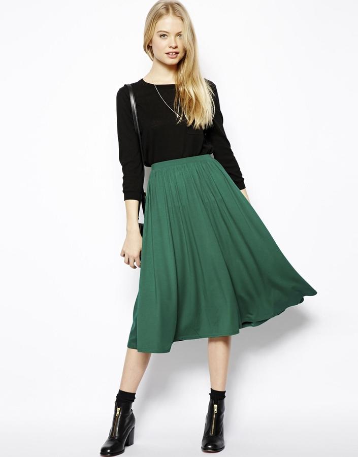 Темно зеленая юбка фото