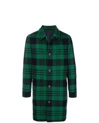 Темно-зеленое длинное пальто в шотландскую клетку