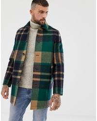 Темно-зеленое длинное пальто в шотландскую клетку от ASOS DESIGN