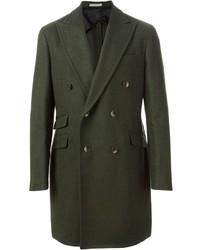 Темно-зеленое длинное пальто