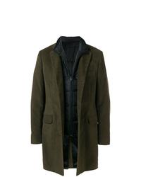 Темно-зеленое длинное пальто от Fay