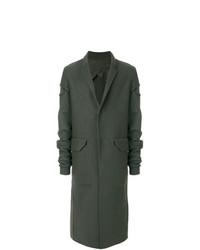 Темно-зеленое длинное пальто от Rick Owens