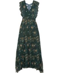 a5745b4b555238b Купить темно-зеленое платье-макси с принтом - модные модели платьев-макси