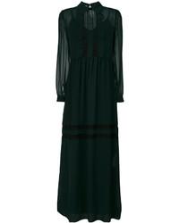 Женское темно-зеленое платье-макси с рюшами от P.A.R.O.S.H.