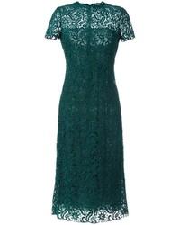 Женское темно-зеленое платье с вышивкой от Valentino