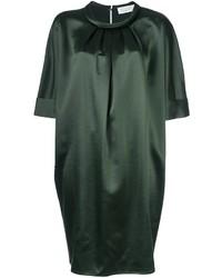 Женское темно-зеленое шелковое платье прямого кроя от Gianluca Capannolo