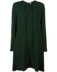 Женское темно-зеленое шелковое платье от Chloé