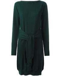 Женское темно-зеленое шерстяное вязаное платье от MM6 MAISON MARGIELA
