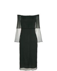 Темно-зеленое шифоновое платье-миди