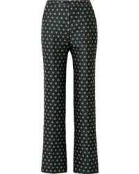 Темно-зеленые брюки-клеш с цветочным принтом