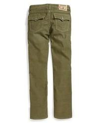 Темно-зеленые вельветовые джинсы