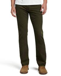 Темно-зеленые вельветовые классические брюки