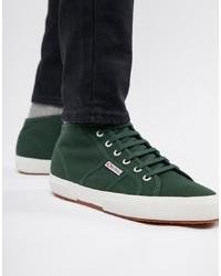 Темно-зеленые высокие кеды из плотной ткани